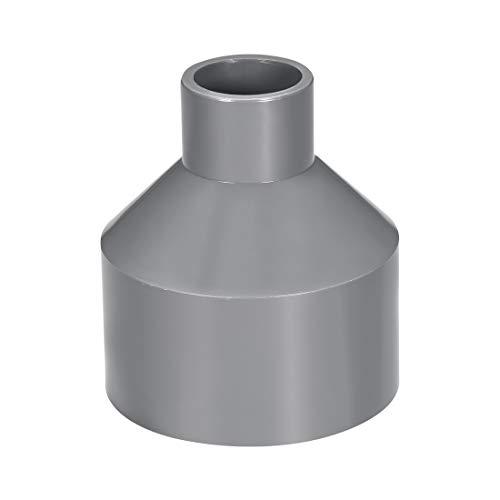 sourcing map Acoplamiento reductor de PVC de cubo por cubo de 75mm x 32mm Adaptador de tubería DWV Gris