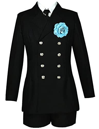 CCTor Anime Black Butler Ciel Phantomhive cosplay mujeres ni?as conjunto de kimono uniforme escolar disfraz vestido Halloween Navidad-negro_L