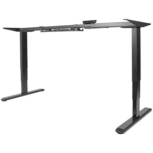 VIVO Black Electric Dual Motor Stand Up Desk Frame with Cable Management Rack, Ergonomic Height Adjustable Standing DIY Workstation (DESK-V103E)