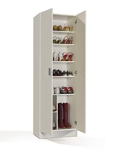 Furniturefactor Kawai B02 Armadio Multiuso a 2 ante, Melamina, Bianco, 180 x 59 x37 cm