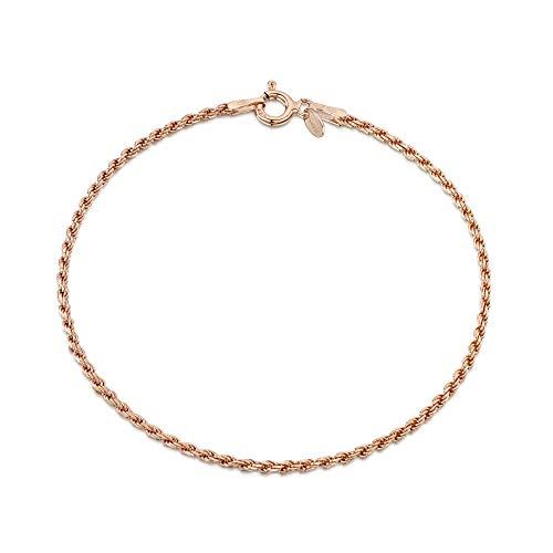 Amberta Gioielli - Bracciale - Catenina Argento Sterling 925 - Placcato Oro Rosa da 14k - Modello Corda - Larghezza 1.5 mm - Lunghezza: 18 cm