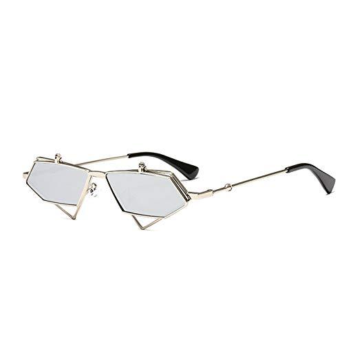 Gafas De Sol Polarizadas, Marco De Metal Triangular Irregular Que Se Puede Voltear, Adecuado para Actividades Al Aire Libre Masculinas Y Femeninas,Plata