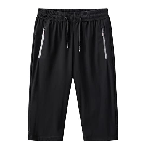 Pantalones Cortos Deportivos Finos y cómodos para Hombre Color sólido Sencillez Moda Tallas Grandes Bolsillo con Cremallera Estiramiento Pantalones Cortos Casuales M
