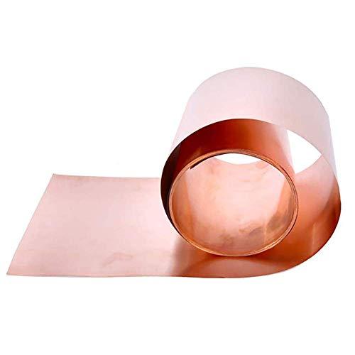 SZQL Reine Kupferfolie, reines bleifreies Kupfer Metall Kupfer Blatt glattes Blatt Kupfer DIY Handgemachter materieller,1m,0.08x200mm