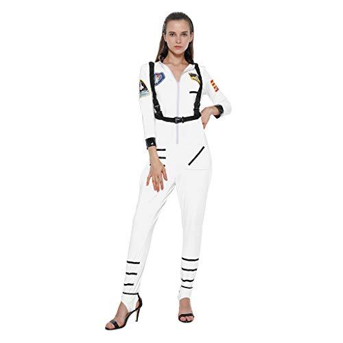EraSpooky Damen Astronaut Raumfahrer Kostüm Faschingskostüme Cosplay Halloween Party Karneval Fastnacht Kleid für Erwachsene,XL