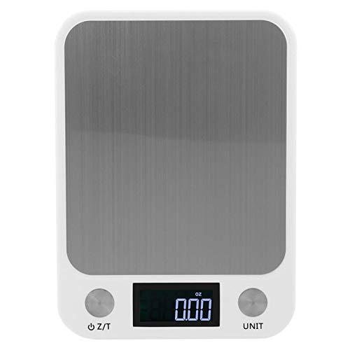 10 kg / 1 g Báscula de cocina digital Porable Básculas para alimentos de acero inoxidable Mini básculas Balanza de cocina electrónica con plataforma de vidrio templado Pantalla LCD(blanco)