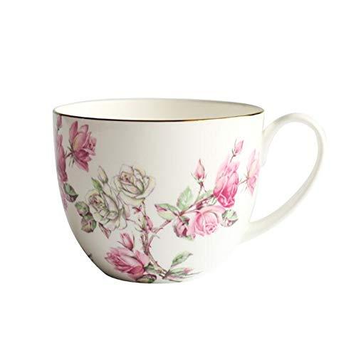 China Taza grande de cerámica creativa de la copa de leche de la láctea del desayuno de la láctea de la prima de China con el regalo del regalo de la cerámica de la cuchara de la tapa ( Color : E )