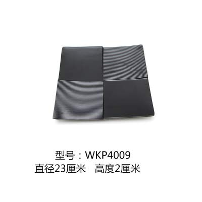 Plaque en plastique Noir Sushi Buffet Grill Carré givré Art Vaisselle, P