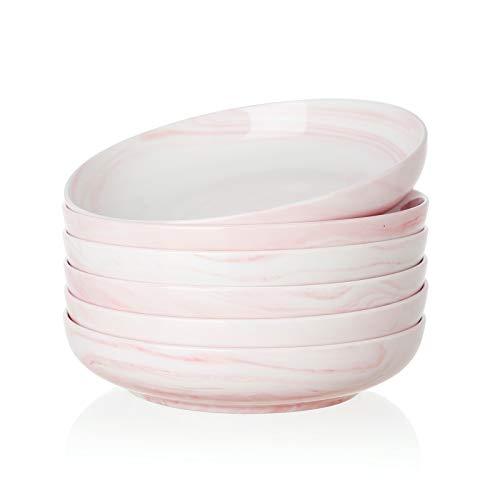 SWEEJAR Ceramic Pasta Bowls Set, 23 OZ for Salad, Soup, Cereal, Set of 6 (Pink)