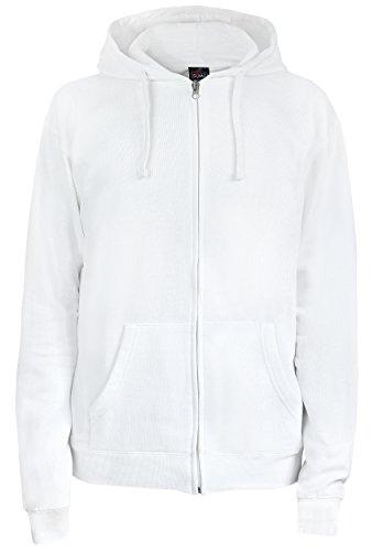 SUMG Apparel Unisex Kapuzenjacke Kapuzen Sweat-Jacke 'Basic Hooded Zipper' (M, weiß)