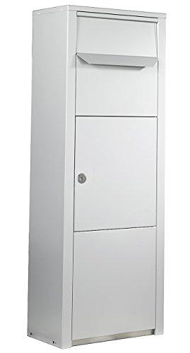 Ein großer, weißer, stehender Paketbriefkasten