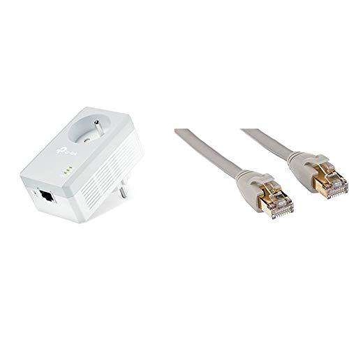 TP-Link TL-PA4015P CPL 600 Mbps avec Prise Intégrée et Ports Ethernet & Amazon Basics Câble réseau Ethernet RJ45 catégorie 7-2,1 mètres