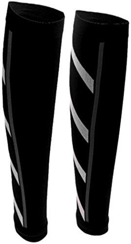 PRESKIN – 2 Kompressionsstrümpfe SportComp Schwarz ohne Fuß für Sportler, Job & Alltag, Wadenbeinling für Damen & Herren, gegen müde Beine und Krämpfe, für bessere Regeneration + Durchblutung