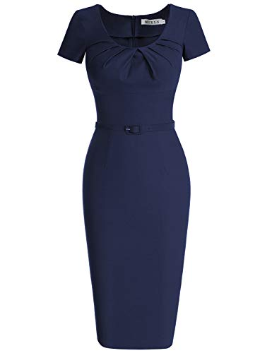 MUXXN Women's 1950s Vintage Short Sleeve Pleated Pencil Dress(XL,Blue)