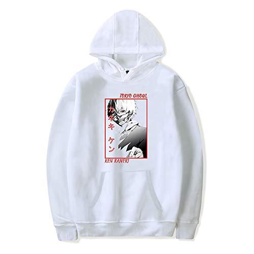 Tokyo Ghoul Sudadera Kaneki Ken Cosplay Disfraz Japonés Harajuku Anime Patrón Casual Jersey Impreso Uniforme Hokage Sudadera unisex ligera con bolsillo canguro para adultos