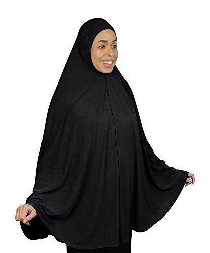"TheHijabStore.com Extra Long 51"" Lycra Amira Hijab Khimar Dress Burkas Clothing for Women Prayer Niqab Dress Burqa Black"