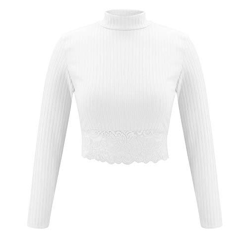 Oberteil Bauchfrei Damen, Ulanda Teenager Mädchen Mode Crop Top Sport Rundhals Shirt Bluse Frauen Casual Baby Girl Kurzarm Sommer T-Shirts Hemd Tops Pullover Sale (2#Weiß, S)