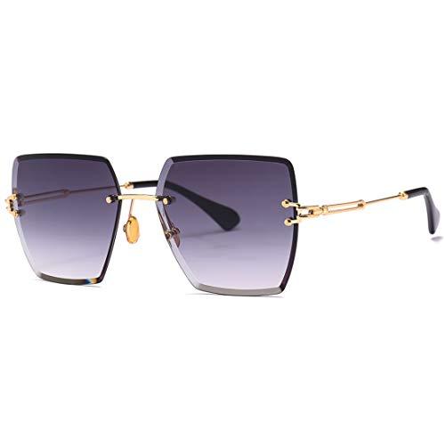 HFSKJ Gafas de Sol, Gafas de Sol cuadradas sin Montura, Gafas de Sol de Color Degradado, Gafas de Moda,B