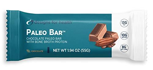 Designs for Health Paleo Bar - Paleo Nutrition Bar with 8g Net Carbs + 10g Protein from Bone Broth Isolate, Hemp + Pumpkin Seed - Dairy-Free + Gluten-Free, Chocolate Flavor (12 Bars)