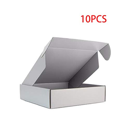 10 Stück Box Farbe Paket Karton Kleine Geschenkbox Perücken Blanko 3 Schichten Wellpappe Home Dekoration (Farbe: Grau, Größe: 25 x 20 x 7 cm)