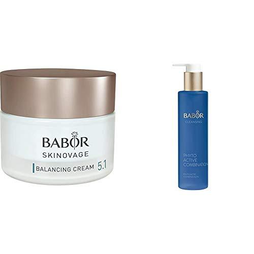 BABOR SKINOVAGE Balancing Cream, Gesichtscreme für Mischhaut, mattierende Feuchtigkeitspflege, trockene Haut, 50 ml & CLEANSING Phytoactive Combination, Reinigung mit Pflanzenextrakten, 100 ml