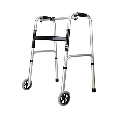 Aluminiumlegierung Gehhilfe for ältere Menschen, leichte Falten vierbeinigen Gehstock, Rehabilitationstraining Armlehnenrahmen, mit Vorderrad (Color : Silver)