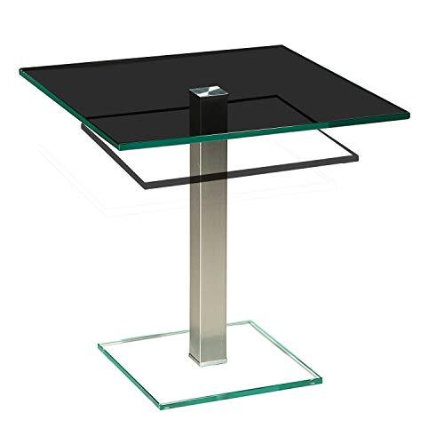 tischdesign24 Perth2281-A Ecktisch mit 12mm Glasplatte. Mittelsäule in 50x50mm ECHT Edelstahl gebürstet und versiegelt. Ausführung: Parsolglas mit Ablage Größe: 50 x 50 cm Quadratisch Höhe: 54 cm
