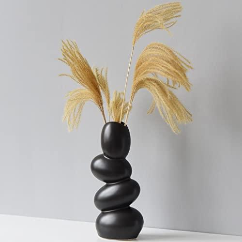 XIUWOUG Jarrón de cerámica abstracto, jarrón decorativo único y minimalista, escultura moderna para salón, color negro