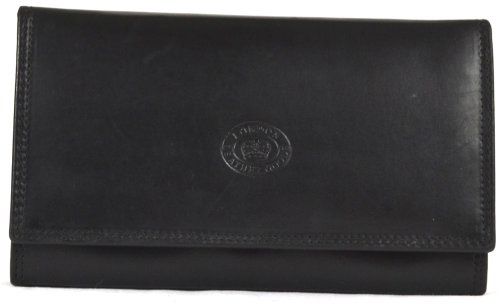 Ladies Soft Real Nappa Leather Long Flap-over Purse with Inner Flap pockets (Black)