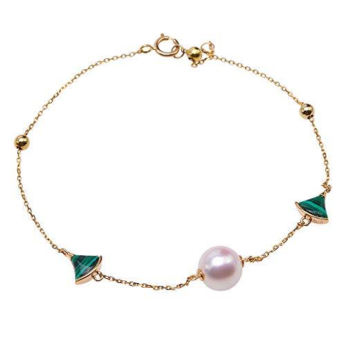 JYX Perlenarmband 18 Karat Gold natürliche weiße Akoya-Perle, perfekte runde Inlay Türkis Armband Handglied Schmuck für Frauen