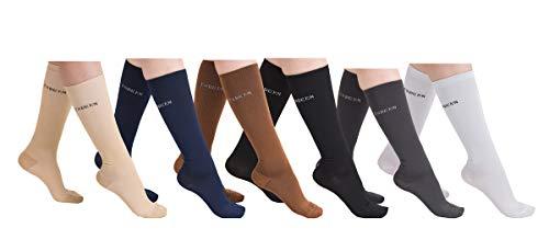 6 Pairs Women's Graduated Compression Trouser Socks 8-15mmHg 611X-L