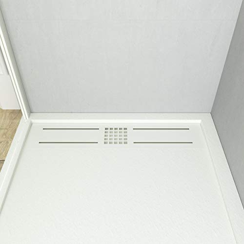 VAROBATH - Plato de ducha de Resina, color Blanco URBAN STONE. Cargas minerales, textura pizarra, antideslizante y antibacteriano. Fabricado en España. (70x150)