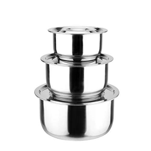 Hemoton - Set di 3 ciotole in acciaio inox con coperchio, in metallo, per ristoranti, casa, hotel (colorato) Taglia 1 Argento