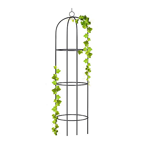 wuuhoo® I Rankhilfe Alma als Obelisk aus Metall 190cm für den Garten und Terrasse I Rankturm und Ranksäule für Kletterpflanzen I Rankgitter...