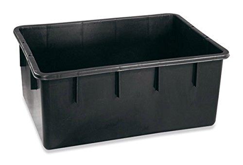 PLASTIME Rectangular Caso, 160L, plástico, Cuello Ancho, LDPE, Color Negro, 88.3X 63.8X 36,4cm