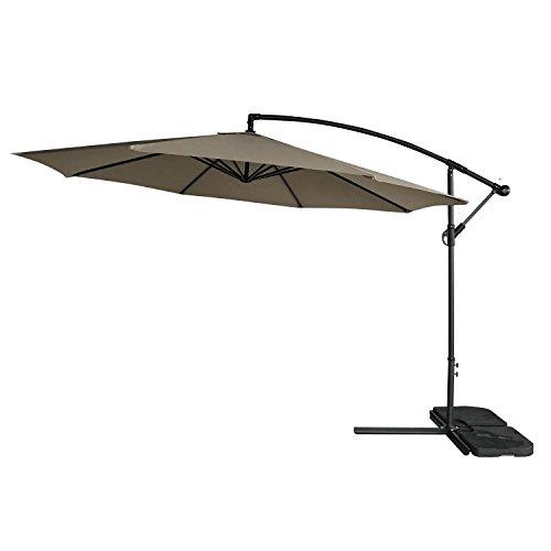 Befied Parasole Ombrellone Anti UV Giardino Funzionalità Ruota 360° Stile Eleganza senza Piedino 300 x 300 cm