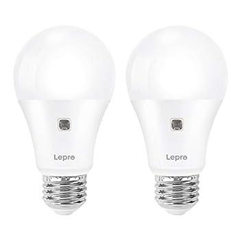 Lepro Dusk to Dawn Light Bulbs Outdoor Lighting Auto On/Off Light Sensor LED Bulbs 60 Watt Equivalent Non-Dimmable A19 E26 Medium Screw Base 9W 806 Lumens Soft White Pack of 2