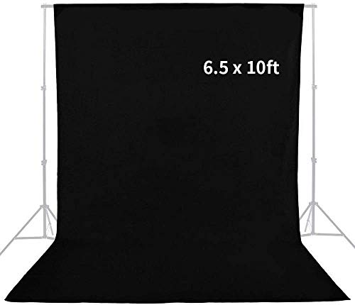 6.5ft x 10ft Professional Black White Green Studio Chromakey Muslin Backdrop for Photo Video Photography Studio Surface Fabric Background Screen by MOUNTDOG (Stand NOT Included) (Gold 110CM)