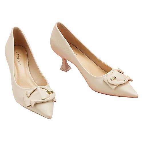 C.PARAVANO Tacones Blancos I Zapatos de Tacón I Tacones Altos para Mujer...