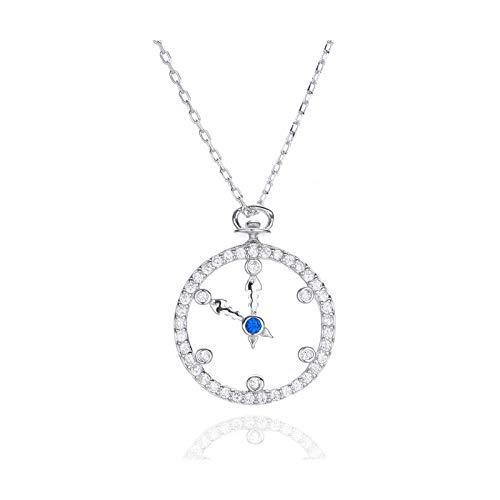 BSbattle Collar de plata de ley 925 con colgante para mujer, collar de tiempo femenino, reloj de moda de plata 925