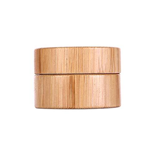 Minkissy Crème cosmétique pots bouteille de bambou rechargeable cas de stockage vide contenant de maquillage pour échantillons de crèmes liquides 10g