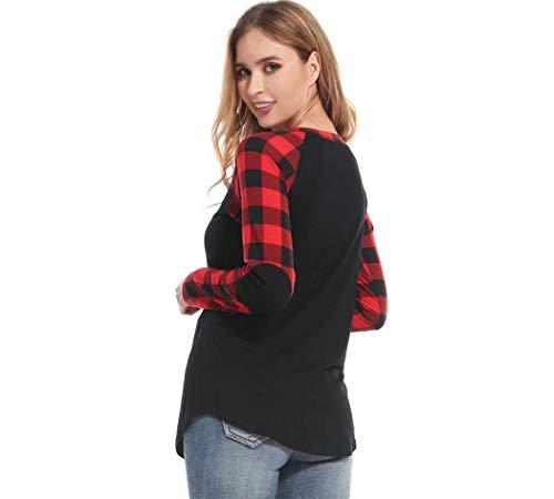 Buffalo Plaid Shirt Womens Plus Size Long Sleeve Elbow Patch Tunic Tops (XXXX-Large, Black Body Plaid Sleeve)