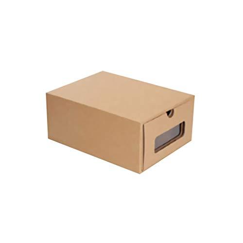 Yyqx Estante para zapatos Caja de papel transparente de piel de vaca, caja de cartón Kraft engrosada, caja de zapatos, caja de almacenamiento de papel, zapatero (color A: A)