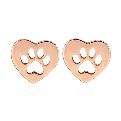 yichahu Pendientes de oro rosa con forma de corazón para mujer, diseño de huella de gato y perro,...