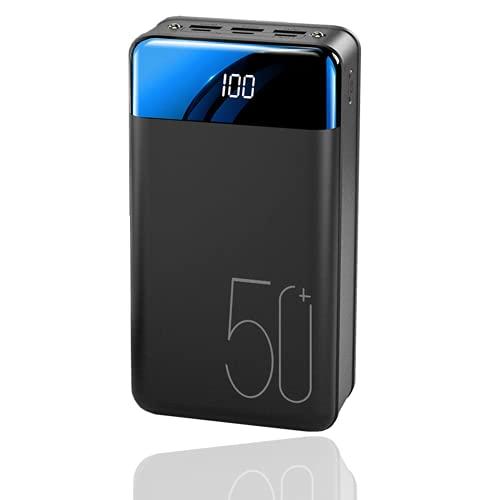 Power Bank Charging Rápido 50000Mah Cargador Portátil, Alta Capacidad 3 Salidas Paquete De Baterías De Teléfono Con Linterna Y Pantalla LED Batería Externa Compatible Con Iphone, Android,Fast charge