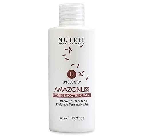 Tratamiento de proteína brasileña para alisar el cabello, 1 paso, alisador de proteínas Amazonliss, nueva fórmula, sin olor, sin formaldehído (solo botella de proteína de 60 ml)
