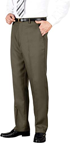 BBY Mens Quality Formal Casual Work Trouser Pants Home/Office,Lovat,42W / 33L