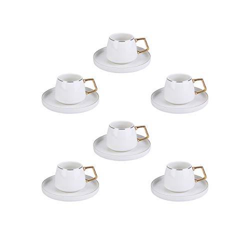 KARACA Saturn Türkische Kaffeetassen, Mochatassen Set Für 6 Personen, 12 TLG, Weiß Gold, 6X Espressotasse und 6X Untertasse, Mokkatassen,Espressotassen Set aus Porzellan, Kaffeetassen, Espresso Set