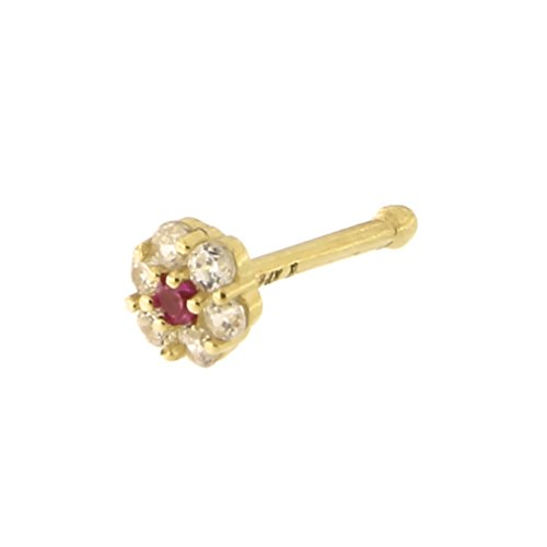 14k Yellow Gold Simulated Ruby 4 Millimeters Flower Cluster Nose Stud Ring 20 Gauge
