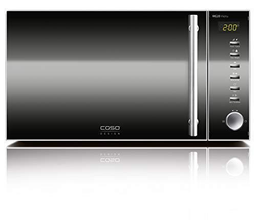 Caso | MG20 menu 2-in-1 Mikrowelle mit Grill | 800 W, Grill 1000W, 20 L, 2 Kombiprogramme + 14 Koch-Programme, Design Edelstahl und verspiegelt